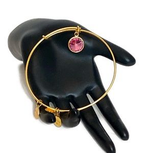 Alex and Ani Gold Rose Crystal Bangle Bracelet